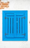 blue old vintage pop up wooden window,
