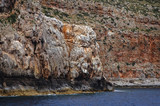 Rocky seashore of Gramvousa Peninsula on the Crete Island in Greece