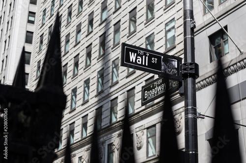 Wall mural Street sign in New York Ciy. Walls street, Broadway.