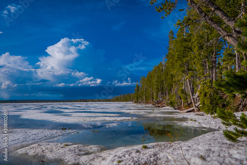 Outdoor view of Norris Geyser Basin, during a gorgeous sunny day in Yellowstone National Park