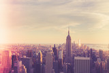 Vintage style image of buildings across New York City at sunset with retro filter  - 208005871