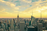 Vintage style image of buildings across New York City at sunset with retro filter  - 208005879