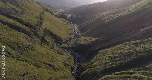 Aerial shot of flying in the valley in North Yorkshire.