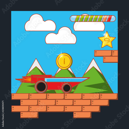 Fotobehang Blauw Video game interface with coins and car, colorful design. vector illustration
