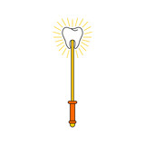 Tooth Fairy magic wand isolated. Vector illustration