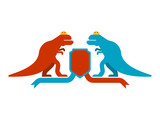 Dinosaur and Shield heraldic symbol. Dino Sign Prehistoric beast for coat of arms. Archeology sign. Vector illustration