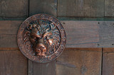Shield in the form of a copy of the Forged Roman Lion on wooden gates - 208034888