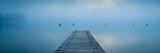 Panorama vom See im Nebel mit Steg am Morgen - 208035287