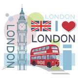 Set for design on London. Great Britain flag. London bus. Big Ben Tower. Vector graphics to design.