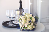 White bridal bouquet and champagne - 208037491