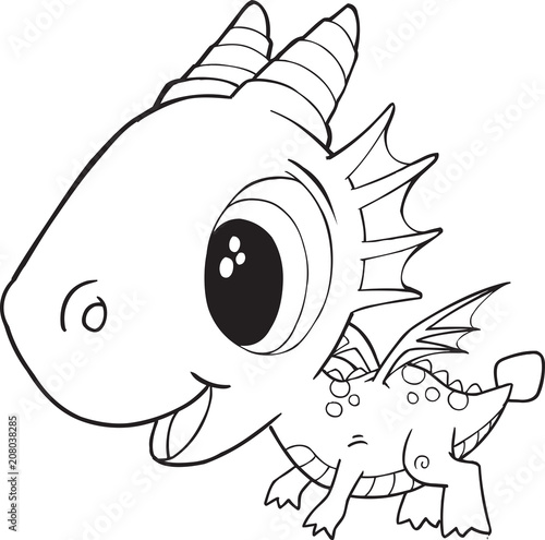 Fotobehang Cartoon draw Cute Dragon Vector Illustration Art