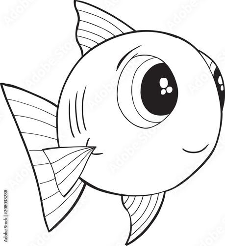 Fotobehang Cartoon draw Cute Happy Fish Vector illustration Art