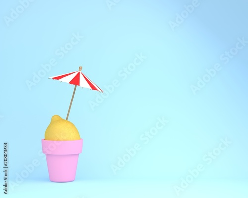 Creative summer layout made of lemon with flowerpot and sun umbrella on blue pastel background.  Minimal summertime idea concept. - 208041633