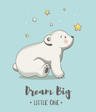 Cute card with little bear, poster for baby room, baby shower, hand drawn nursery illustration - 208043009