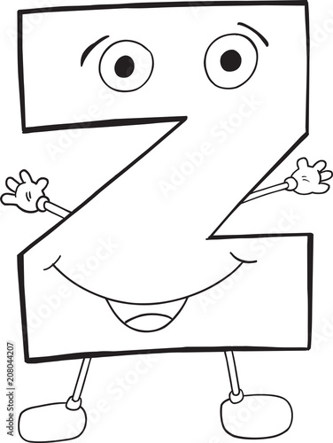 Fotobehang Cartoon draw Cute Happy Letter Z Vector Illustration Art