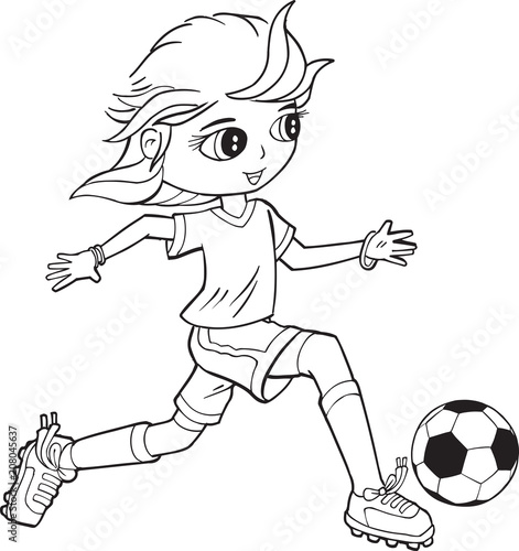 Fotobehang Cartoon draw Girl Child Soccer Player Vector Illustration Art