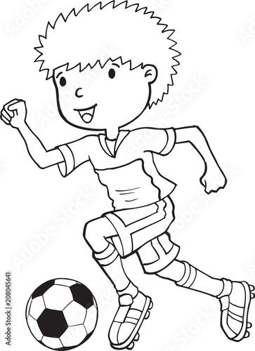 Fotobehang Cartoon draw Boy Child Soccer Player Vector Illustration Art