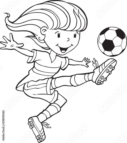 Foto Spatwand Cartoon draw Girl Child Soccer Player Vector Illustration Art