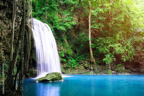 Waterfall in forest at Erawan waterfall National Park, Kanchanaburi, Thailand - 208054210