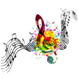 Music colorful background with G-clef and music notes vector illustration design. Music festival poster, creative music notes isolated - 208055807
