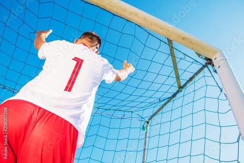 Aluminium Voetbal Goalkeeper in the Goal