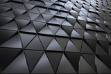 Abstract 3D minimalistic geometrical background of black triangles - 208057881