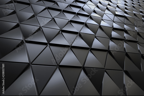 Leinwanddruck Bild Abstract 3D minimalistic geometrical background of black triangles