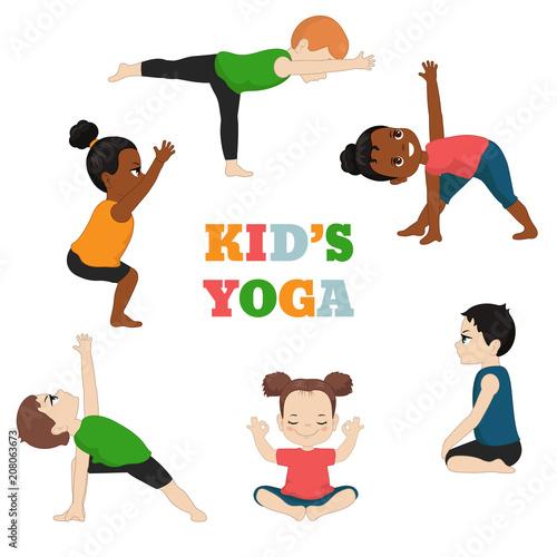 Fototapeta Kids doing yoga.