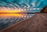 Sunset landscape from Hiukka beach. Sotkamo, Finland.