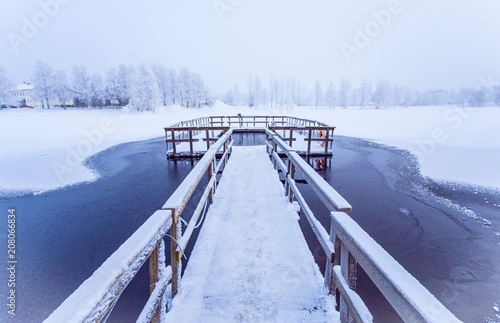 Fotobehang Pier Ice swimming place from Sotkamo, Finland.