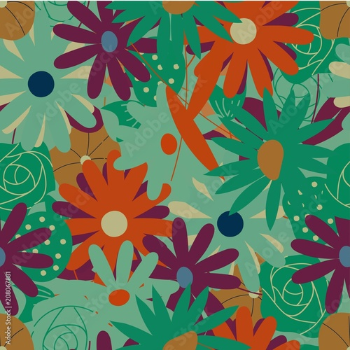 Floral seamless pattern. Cute vector textile ornament with flowers. - 208067881