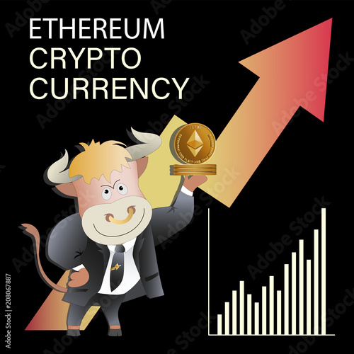 ETHEREUM. Bull businessman demonstrates growing сrypto-currency. Cryptography, an illustration of financial technologies, Finance investment growth diagram information. Cartoon style.