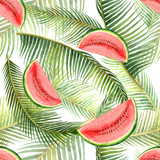 Watercolor vector seamless pattern tropical leaves and slice of watermelon isolated on white background. - 208068433