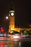 Popular tourist Big Ben and Houses of Parlament in night lights illumination in London, England, United Kingdom - 208069659