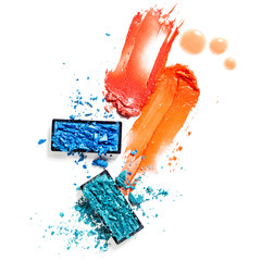 Cosmetic swatch / Creative concept photo of cosmetics swatches on white background. © Fisher Photostudio