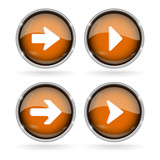 Orange Next buttons with chrome frame. Round glass shiny 3d icons with arrows - 208075476