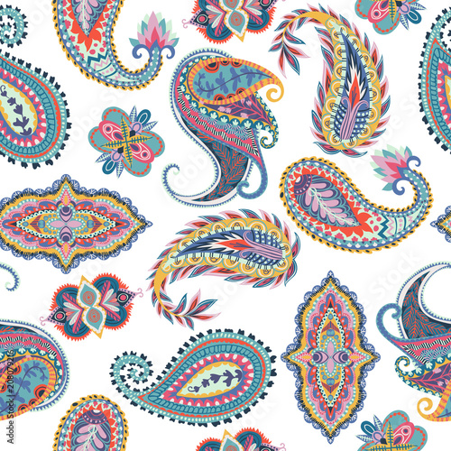 Seamless paisley pattern. Oriental  design for fabric, prints, wrapping paper, card, invitation, wallpaper. Vector illustration - 208079216