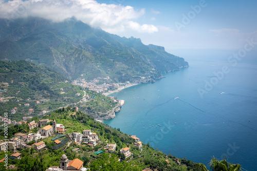 Fotobehang Blauw Ravello, Amalfi Coast, Italy. Villa and vista on the sea from a terrace