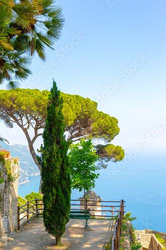 Ravello, Amalfi Coast, Italy. Villa and vista on the sea from a terrace