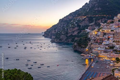 Positano at sunset, Amalfi Coast, Italy