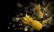 Abstract background with pineapple. Black bokeh background, golden pineapple - 208088405