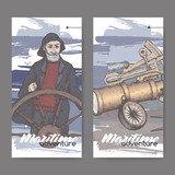 Two color labels with old captain and navigational instruments sketch. Maritime adveture series.