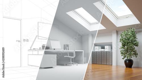 CAD Raumplaner für Büro auf Dachboden