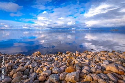 Aluminium Strand Autumn lake wiew from Lake Oulu. Kajaani, Finland.