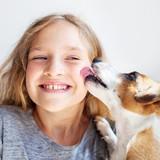 Happy child with dog