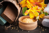 SPA organic products with flowers, bath salt - 208097491