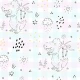 Childish seamless pattern with hand drawn dino.