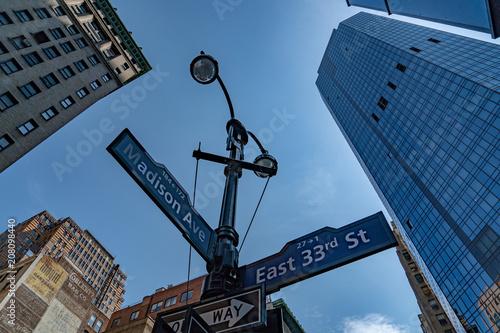 Aluminium New York madison avenue 33rd street sign nyc