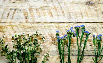 Flowers on the wooden boards