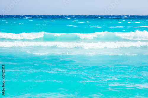 Fotobehang Turkoois beautiful beach with waves in the nature of the background